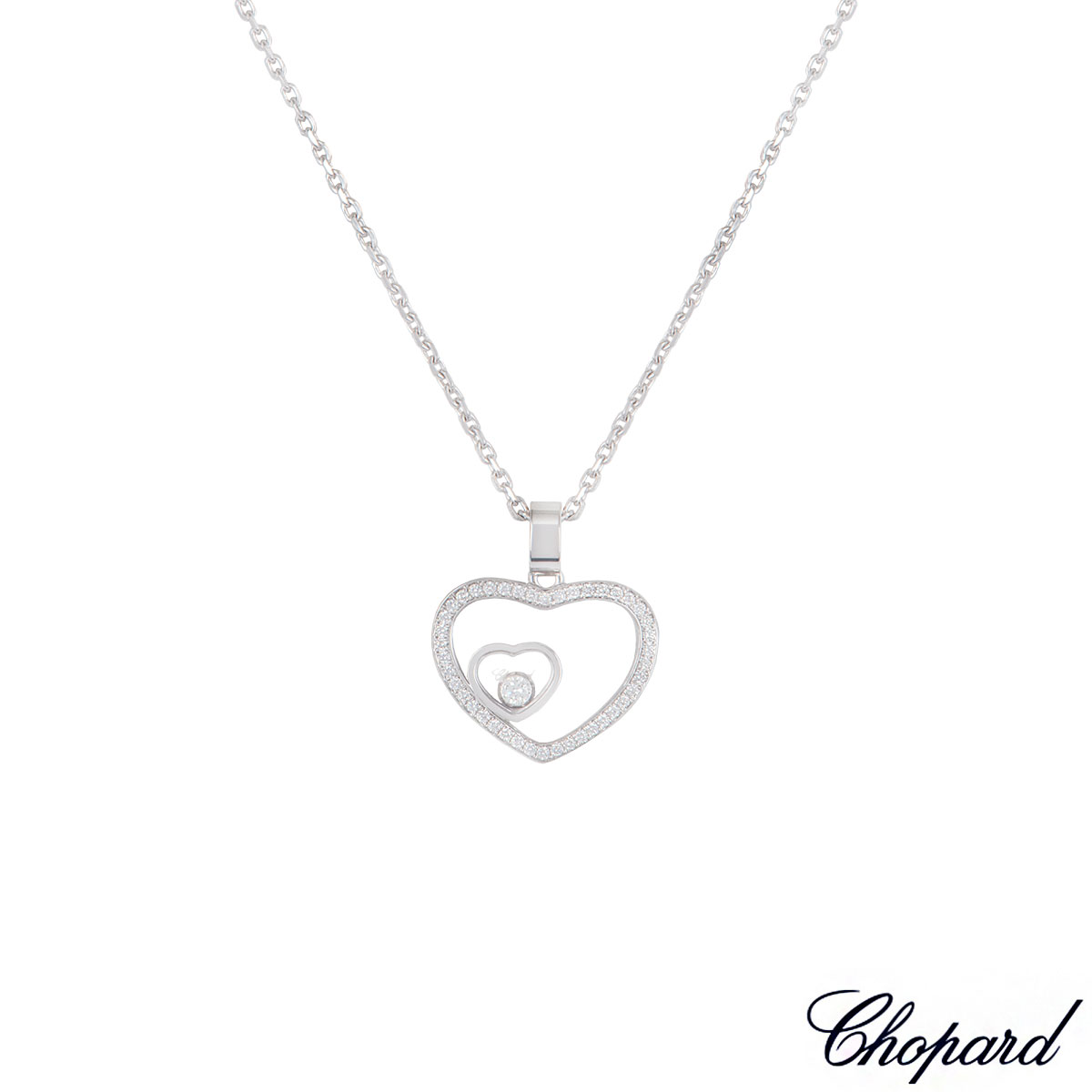 Chopard White Gold Happy Diamonds Heart Pendant 79/7482